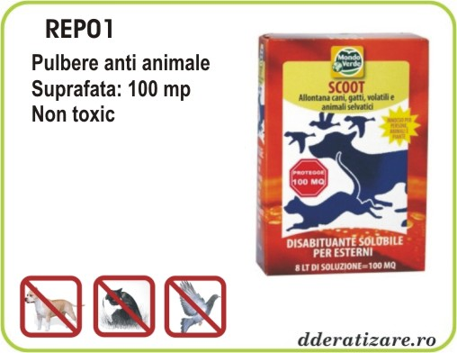 Pulbere solubila anti caini, pisici si pasari - REP01 (150 gr)